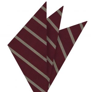 Off-White on Dark Red Mogador Striped Pocket Square #MGSP-1