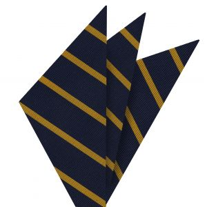 Yellow Gold on Navy Mogador Striped Pocket Square #MGSP-2