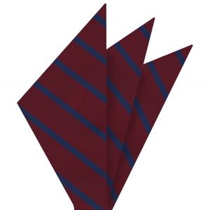 Blue on Dark Red Mogador Striped Pocket Square #MGSP-3