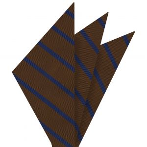 Blue on Chocolate Mogador Striped Pocket Square #MGSP-5
