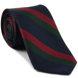 Black Watch Stripe Silk Tie #RGT-27 - Dark Red & Dark Forest Green on Dark Navy Blue