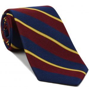 2nd City Of London Stripe Silk Tie #RGT-6  - White, Yellow, Dark Red & Navy Blue