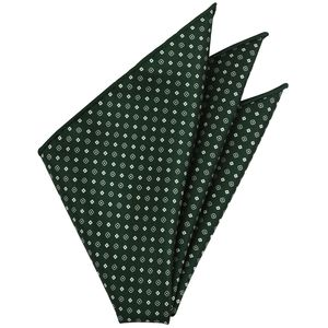 Off-White on Forest Green Macclesfield Print Pattern Silk Pocket Square #MCP-496