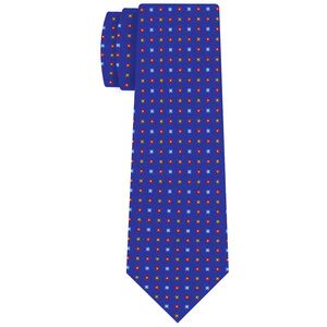Red, Sky Blue, Chocolate & Off-White on Royal Blue Macclesfield Print Pattern Silk Tie #MCT-510