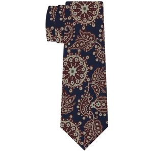 Dark Burgundy, Yellow Gold & Light Green on Dark Navy Macclesfield Print Pattern Silk Tie #MCT-512