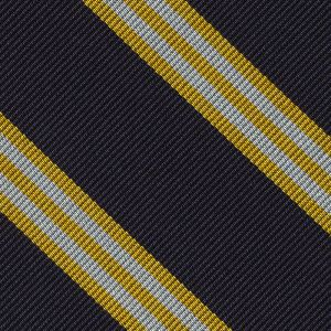 Yellow Gold & White on Midnight Blue Striped Silk Pocket Square #RSP-63