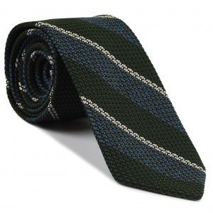 Sky Blue, Dark Olive Green & Off-White Classic Grenadine Grossa Stripe Silk Tie #9