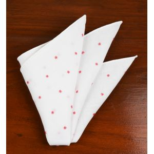 Belgian White Linen With Pink Embroidered Stars Pocket Squares #LLEP-11