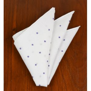 Belgian White Linen With Lavender Embroidered Stars Pocket Square #LLEP-14