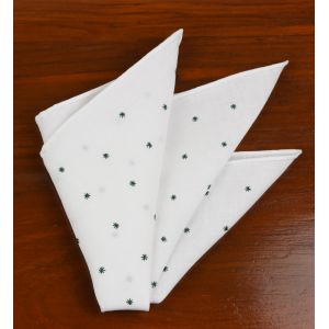 Belgian White Linen With Forest Green Embroidered Stars Pocket Square #LLEP-22