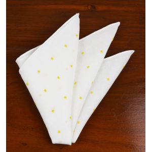 Belgian White Linen With Yellow Embroidered Stars Pocket Square #LLEP-25