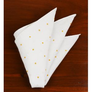 Belgian White Linen With Orange Embroidered Stars Pocket Square #LLEP-27