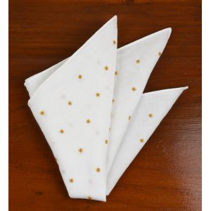 Belgian White Linen With Gold Embroidered Stars Pocket Square #LLEP-26