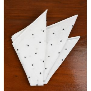 Belgian White Linen With Black Embroidered Stars Pocket Square #LLEP-37