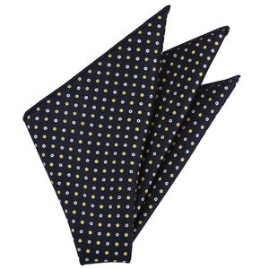 White & Yellow Gold on Midnight Blue Macclesfield Print Pattern Silk Pocket Square #MCP-483
