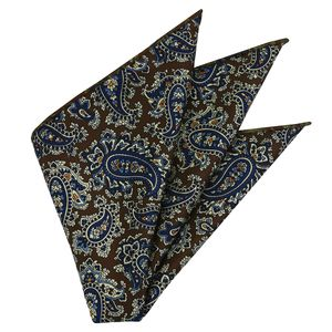 Dark Blue, Sky Blue & Off-White on Chocolate Macclesfield Print Pattern Silk Pocket Square #MCP-488