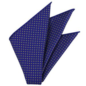 Yellow Gold, Sky Blue, Burgundy & Silver on Royal Blue Macclesfield Print Pattern Silk Pocket Square #MCP-489