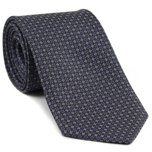 Lavender, Blue & Off-White on Silver Brown Macclesfield Print Pattern Silk Tie #MCT-484