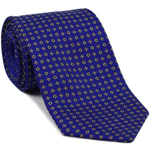 Yellow Gold, Sky Blue, Burgundy & Silver on Royal Blue Macclesfield Print Pattern Silk Tie #MCT-489
