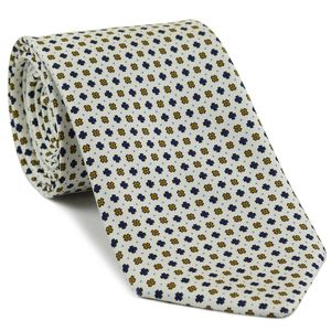 Dark Gold, Navy Blue & Sky Blue on White Macclesfield Print Pattern Silk Tie #MCT-490