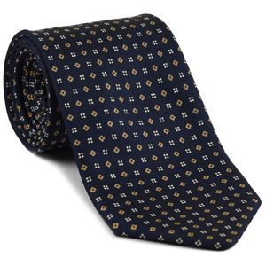 Red, Light Gold & Off-White on Midnight Blue Macclesfield Print Pattern Silk Tie #MCT-492