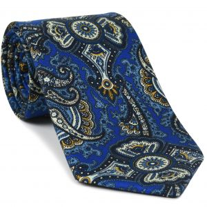 Mandarin, Sky Blue, Off-White & Midnight Blue on Royal Blue Macclesfield Print Pattern Silk Tie #MCT-497