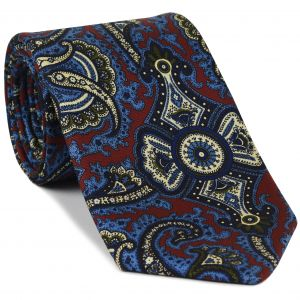 Sky Blue, Olive Green, Off-White & Midnight Blue on Red Macclesfield Print Pattern Silk Tie #MCT-498
