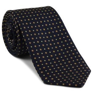 Burnt Orange, Light Yellow, Off-White on Midnight Blue Macclesfield Print Pattern Silk Tie #MCT-501