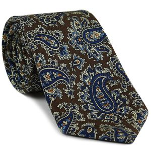 Dark Blue, Sky Blue & Off-White on Chocolate Macclesfield Print Pattern Silk Tie #MCT-488