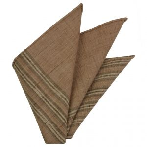 Off-White, Cream, Sand & Brown Doi Tao Thai Cotton Pocket Square #THCP-3
