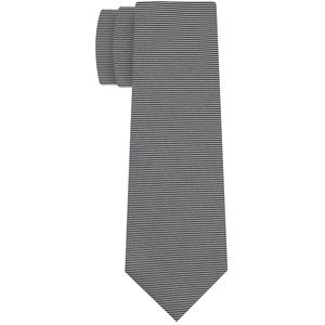 Silver & Black Formal/Wedding Stripe Silk Tie #WDST#10