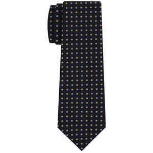 White & Yellow Gold on Midnight Blue Macclesfield Print Pattern Silk Tie #MCT-483