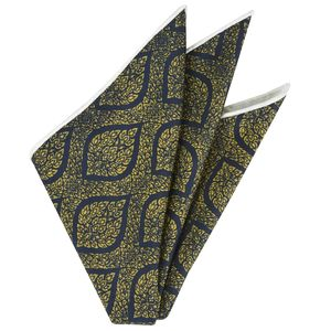 Gold/Green on Dark Navy Blue Traditional Thai Print Silk Pocket Square #1