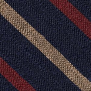 Dark Red & Cream on  Dark Navy Blue Shantung Striped Silk Pocket Square #SHSTP-2