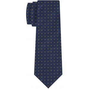 Yellow Gold on Dark Navy Blue Mogador Pin Dot Tie #MGPDT-2