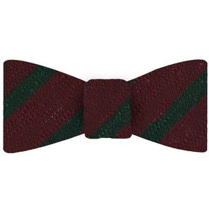 Forest Green on Wine Shantung Striped Silk Bow Tie #SHSTBT-3