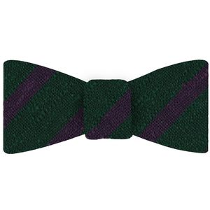 Purple on Forest Green Shantung Striped Silk Bow Tie #SHSTBT-4