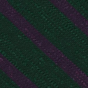 Purple on Forest Green Shantung Striped Silk Pocket Square #SHSTP-4