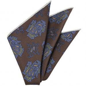 Blue, Brown & Olive Green on Chocolate Macclesfield Print Pattern Silk Tie #MCT-507