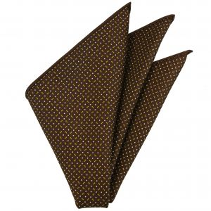 Yellow Gold & Off-White on Chocolate Macclesfield Print Pattern Silk Tie #MCT-508