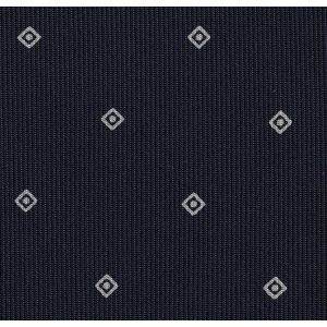 Silver/White on Midnight Blue Macclesfield Print Pattern Silk Pocket Square #MCP-514