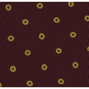 Yellow on Burgundy Macclesfield Print Pattern Silk Pocket Square #MCP-516