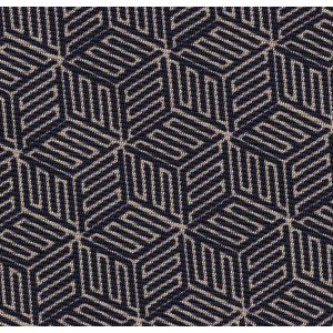 Off-White on Dark Navy Blue Macclesfield Print Pattern Silk Pocket Square #MCP-517