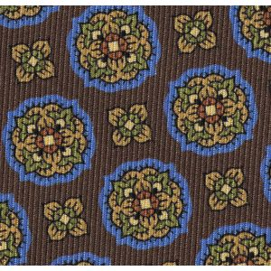 Blue, Yellow Gold, Green, Midnight Blue & Red on Chocolate Macclesfield Print Pattern Silk Pocket Square #MCP-518