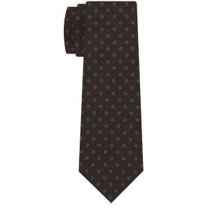 Powder Blue on Dark Chocolate Macclesfield Print Pattern Silk Tie #MCT-519
