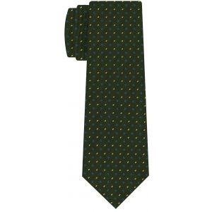 Sky Blue & Off-White on Forest Green Macclesfield Print Pattern Silk Tie #MCT-521