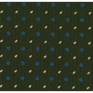 Sky Blue & Off-White on Forest Green Macclesfield Print Pattern Silk Pocket Square #MCP-521