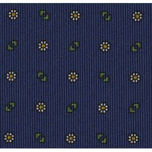 Young Leaf Green, Off-White & Yellow Gold on Navy Blue Macclesfield Print Pattern Silk Pocket Square #MCP-520