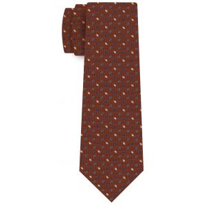 Sky Blue, Blue, Off White on Dark Burnt Orange Print Pattern Silk Tie #MCT-523