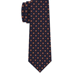 Brick, Powder Blue, Off White on Midnight Blue Print Pattern Silk Tie #MCT-527